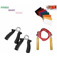 Fitness Basic Needs Skipping Rope+2 Hand Grip Exerciser + Pair Of Sweat Band - 6610958