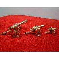 Pure Brass Handicraft Cannon Show Piece Desktop Decor Gift Item Set Of  3