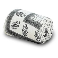 Handblock Grey Print Cotton Double Bed Comforter 613