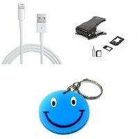 Combo Of IPhone 5 USB Data Cable+4FF(Nano Sim)Cutter With Free Smiley Key Chain