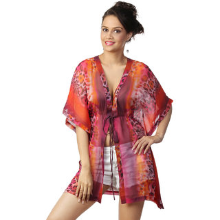 Love From India - Pink Animal Abstract Print Poncho