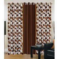 HomeSazawat Set Of 3 Beautiful Eyelet Door Curtain(4x7ft)