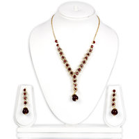 Bhuri Red And White Diamond Studded Gold Plated Necklace Set With Earrings
