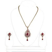 Bhurri'S Kundan Pendant Set With Pink Studded Diamonds (Pink)