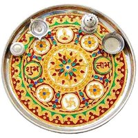 Pooja Thali Set Of 2 - 11 Inch Textured Steel Pooja Thalis Combo