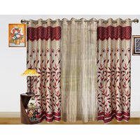 Dekor World Ultima Leaf Panel Curtain Combo.-Pack Of 3 Pcs