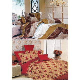 Double Bed Sheets Set of 2 with 4 Pillow Covers