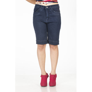 TrendBAE Power Girl Knee Length Shorts - Navy Blue