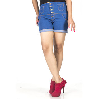 TrendBAE 5 Button High Waist Shorts - Cobalt Blue
