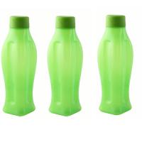 Varmora Aqua  Cool 1 Litre Bottles Set Of 3 Pieces Green Colour