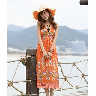 Beach Dress Offer: Orange V Neck Flower Printed Maxi(Long Dress)