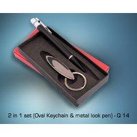 Gift Set - Q14 - 2 In 1 Set(Oval Keychain & Metal Look Pen)