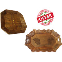 Wood Ocean Serving Tray With Elegant Finish (Set Of 2) - 6721266