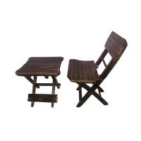 Antique Child's Wooden Folding Chair And Table Set