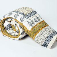 Bajya Jaipuri Floral Print Pure Cotton Double Bed Quilt Jaipuri Razai - 6739512