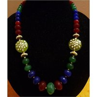 Ruda Light Green Side Coin Kundan Pendants With Red, Green And Blue Semi Agate Beads- Designer Neckpiece