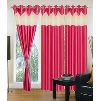 Homesazawat Beautiful Set Of 3 Eyelet Door Curtain(4x7ft) - 6766348