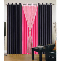 Homesazawat Beautiful Set Of 3 Eyelet Door Curtain(4x7ft) - 6767024