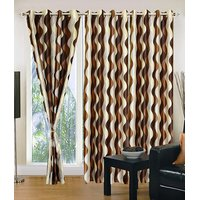 Homesazawat Beautiful Set Of 3 Eyelet Door Curtain(4x7ft) - 6767118