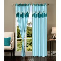 Homesazawat Beautiful Set Of 3 Eyelet Door Curtain(4x7ft) - 6767620