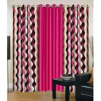 Homesazawat Beautiful Set Of 3 Eyelet Door Curtain(4x7ft) - 6767890