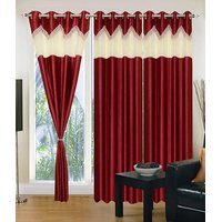 Homesazawat Beautiful Set Of 3 Eyelet Door Curtain(4x7ft) - 6770390