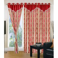 Homesazawat Beautiful Set Of 3 Eyelet Door Curtain(4x7ft) - 6770640