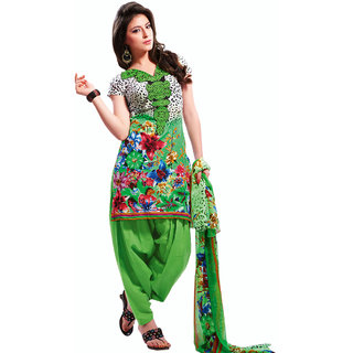 Buy Pakistani Salwar Kameez Dress Material Green And White Online