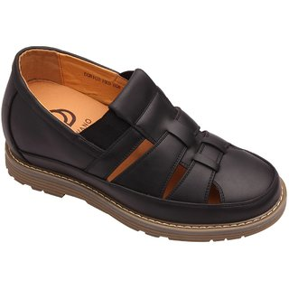 Dvano Black Slip-On Casual Elevator Shoes
