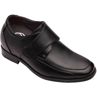 Dvano Black Velcro Strap Formal Elevator Shoes