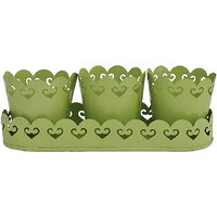 The Yellow Door Planters With Tray/ Tea Light Holders  - Green