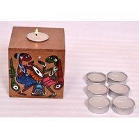 Hand Painted Patachitra Designs T Light Candle Stand With 6pc T Light Candles. - 6783394