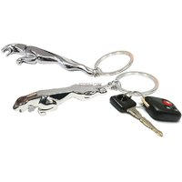 Classy Jaguar Metallic Keychain Chrome Plated Silver Keyring