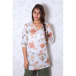 Brown Flower Printed Classic Cotton Tunic