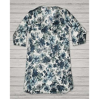 Blue Flower Printed Classic Cotton Tunic