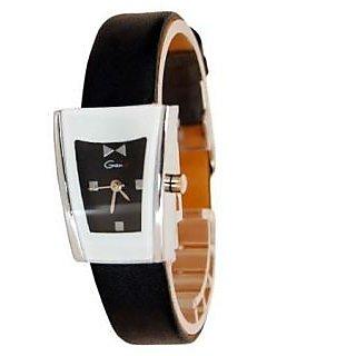Genx Black Leather Wrist Watch For Women