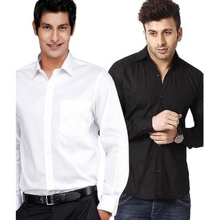 Hawk Mens Black & White Full Sleeves Shirts
