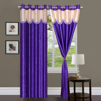 Handloomhub Stylish Purple With Cream Laces Curtain (set Of 2)