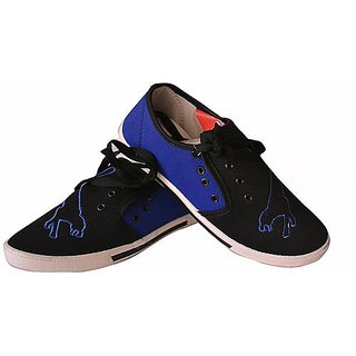 Comfort Cotton Men Shoes In Bk-r-blue Color, Tiger-bk-blue
