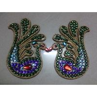 Peacock Shaped Kundan Rangoli Multi Colours