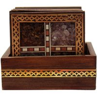 Wood Carving Six Square Hand Made Coasters  With Stones (Indian Rajasthan)