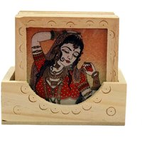 Wood Carving Six Square Hand Made Coasters With Real Crushed Gemstone Painting - 6840320