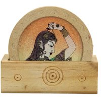 Wood Carving Six Round Hand Made Coasters With Real Crushed Gemstone Painting - 6840392