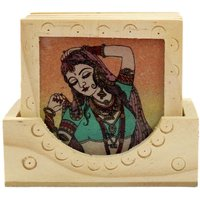 Wood Carving Six Square Hand Made Coasters With Real Crushed Gemstone Painting