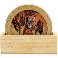 Wood Carving Six Round Hand Made Coasters With Real Crushed Gemstone PaintingI