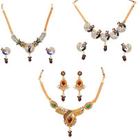 Combo Of 3 Ethnic Necklace Set By Sparkling Jewellery