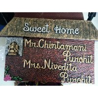 Pink Style Simple Home Name Plate With Golden And Silver Hand Writing