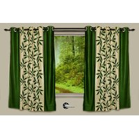 Beautiful Green Color Floral Design Ready To Hang Door(7X4 Ft) Curtain