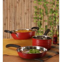 Cookaid Red 3 Pcs Stainless Steel Cookware Set