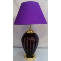 Aarushi Concepts Purple Conical Floral Table Lamp With Bulb
